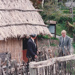 John Pirini, the Howick Postmaster and Alan la Roche outside  the mail runner's cottage at Howick Historical Village after the offical opening.; La Roche, Alan; June 1992; P2021.83.33