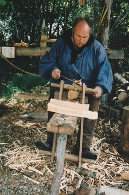 Grant Christianson, working as a bodger on a pole lathe at Howick Historical Village.; La Roche, Alan; P2021.87.07