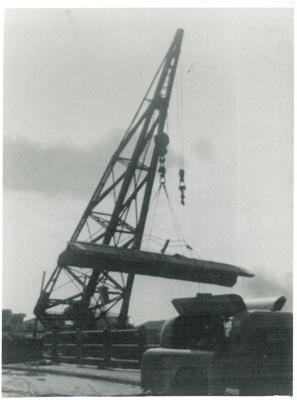 Mahua crane demolishing Panmure bridge; 1959; 2017.285.21