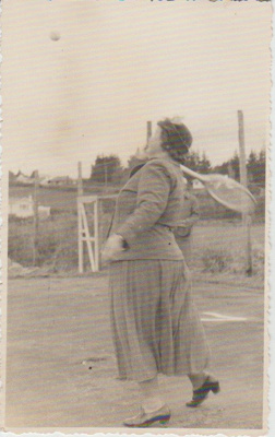 Mrs Brickell, Howick Tennis Club; Howick Candid Photography, Box 57 Howick; 1960; 2017.383.41