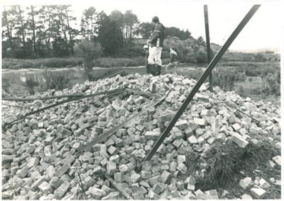 Granger Brick and Tile works chimney demolition; N.Z.Herald; 3/05/1980; 2017.089.33