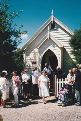 The congregation leaving the Howick Methodist Church in the Howick Historical Village.; Chrimes, Mrs. Edgbaston, Birmingham; 17 April 1991; P2020.38.03