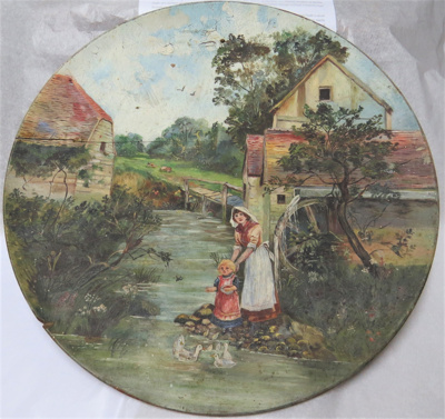 Wooden Platter with a painted scene on the upper s...