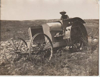 Early tractor ploughing in South Auckland.; c1920s; 2017.587.41
