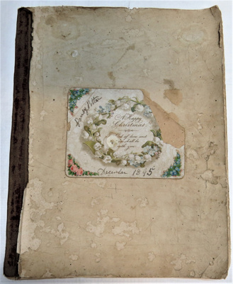 Scrap book with 10 pages of scraps which feature f...