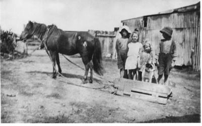 "Shaw children with horse ""Rookie""; circa 1920; 0092"