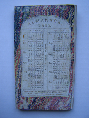 """Almanack 1862"" Memorandum book; T. J. And J. Smith; 1862; 2012.105.1"
