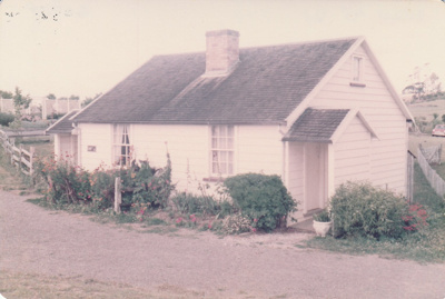 Briody-McDaniel's cottage, previously McDermott's, at the Howick Historical Village. Restoration complete.; 1982; P2020.98.21