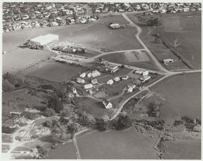 Aerial view of the Howick Historical Village.; Homer, Lloyd New Zealand Geological Survey; 1/08/1982; 2019.104.03