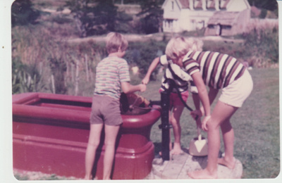 Boys at the horse trough in Howick Historical Village,; La Roche, Alan; 1/03/1982; 2019.105.08