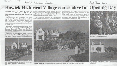 Article in 'The Eastern Courier' about the Live Day day celebrating  the refurbishment of the Puhinui homestead to its current site in HHV.; 2 June 2004; P2020.15.05