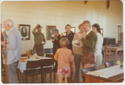 Working bee volunteers morning tea at Howick Historical Village.; 1/05/1980; 2019.129.28