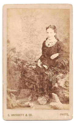 Carte de Visite of unknown woman. BW. Ferns and ot...
