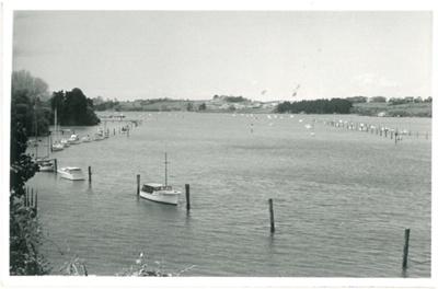 Tamaki River from the Panmure Wharf; Young, Bob; c1962; 2017.256.12
