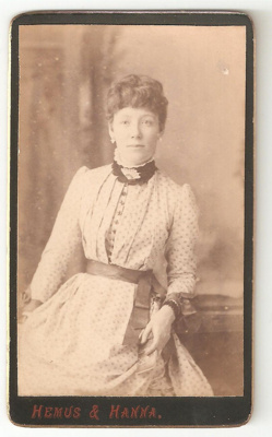 Carte de Visite of unknown woman with fan-shaped b...