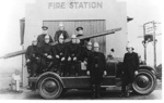 Firemen sitting on Fire Engine - Howick Fire Station; 1910; 9801