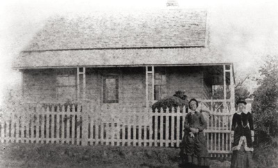 White Howick House, Howick. Two women standing on ...