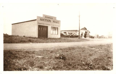 BW Photograph of Gandy's Garage (right) and Howick...