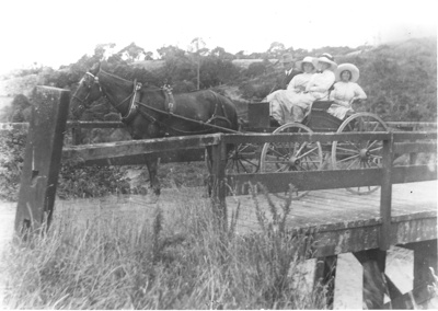 Hattaway Family Crossing Maungemangaroa Bridge; 1914; 9115