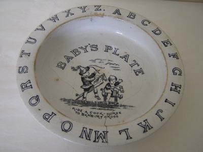 Hand painted china baby's plate, with the alphabet...