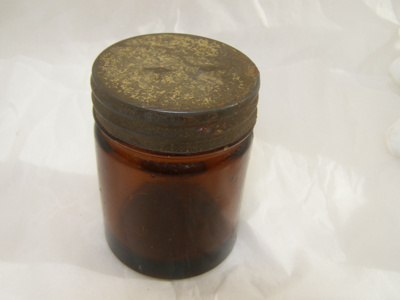 Glass Container with detachable metal lid. ; 2011.34.1 A+B