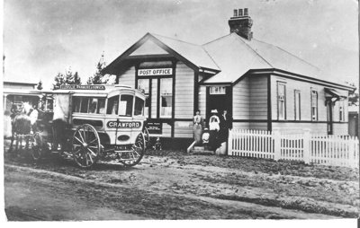 Crawford's horse-drawn Bus outside Howick Post Off...