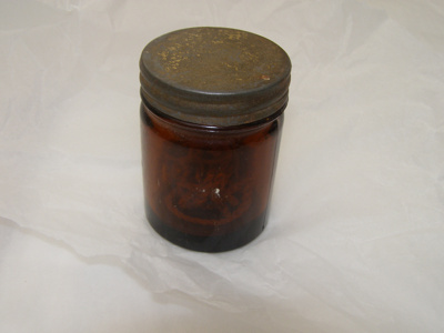 Glass Container with detachable metal lid.; 2011.35.1 A+B+C