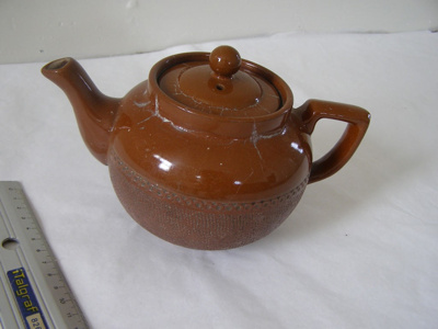 Earthenware brown teapot