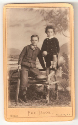 Carte de Visite of two unknown boys. Older boy hol...