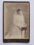 Carte de Visite - woman wearing wedding gown; Hanna, photo studio; 2012.38.1