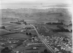 Aerial view of Pakuranga and Glenmore Roads intersection looking east; Eastern Courier - Fairfax Media NZ Ltd; c. 1965; 3259