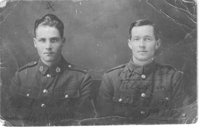 Studio Portrait of Alfred (?) Edward McKenna and comrade; Unknown; c. 1917; 60232