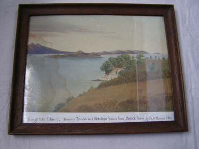 Framed painting of Rangitoto Island, Browns Island...