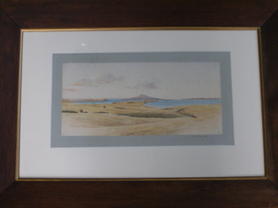Framed watercolor of Buckland's Peninsula looking ...