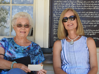 Barbara McNaught & Robyn Wilshire at Bell House Howick Historical Village on 8 March 2020 to celebrate the Villages 40 years anniversary. ; Warbrook, Ireen; 8 March 2020; P2021.01.10
