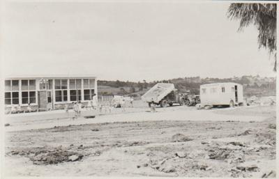 Owairoa School, under construction.; Sloan Photo Service, Bucklands Beach; c1960; 2019.068.20
