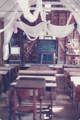 The interior of Ararimu Valley School in the Howick Historical Village. ; La Roche, Alan; P2020.21.21