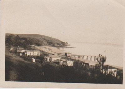 Maraetai Beach and wharf c1920; 1920-1930; 2017.324.02