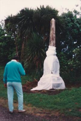 Hemi Taupari, Paramount Chief of Ngai Tai  and Ngati Naho at the rededication of the monument to Te Wheoro; Ashby, J; 27/11/1988; P2019.098.07
