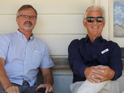 Andries Popping and Steve Udy  at Bell House Howick Historical Village on 8 March 2020 to celebrate the Villages 40 years anniversary. ; Warbrook, Ireen; 8 March 2020; P2021.01.09