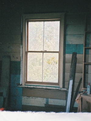 A window in Puhinui during restoration,showing new framing.; Alan La Roche; September 2003; P2020.14.29