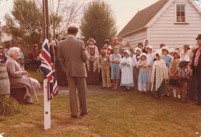 David Edwards, president of the Howick Historical Society at the official opening of Ararimu Valley School in the Howick Historical Village. 29th July 1984.; La Roche, Alan; 29 July 1984; P2020.21.25