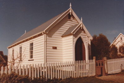 Front view of the Howick Methodist Church in the Howick Historical Village.; La Roche, Alan; November 1983; P2020.34.04