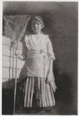 Evelyn Wagstaff with a butterfly net; 2018.426.17