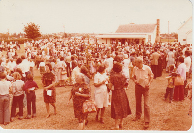 Crowds of people at the opening of the Historic Village; 8/03/1980; 2019.100.54