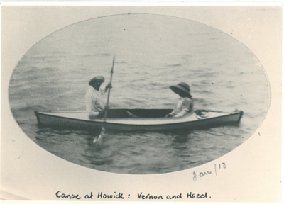 Vernon and Hazel in a canoe at Howick Beach; 1913; 2016.520.18