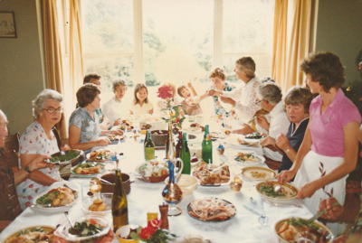 Xmas Day, 1980 at Puhi Nui, McLaughlin's Homestead at Wiri. Showing the family at the dinner table.; 25.12.1980; P2020.09.05