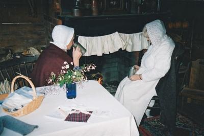 Adrienne Zuppicich and Margaret Robinson in Briody=-McDaniel's cottage on a Live Day.; La Roche, Alan; P2020.104.11