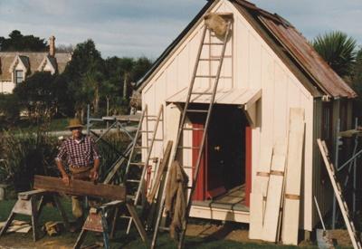 Arthur White restoring the Dame School in Howick Historical Village.; La Roche, Alan; August1989; P2021.53.04