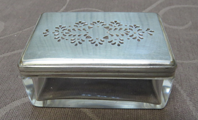 Rectangular glass box with silver lid